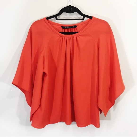 Zara Flutter Dolman Sleeve Blouse Large Orange